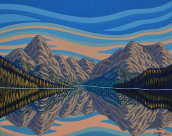 """Refelction Meligne Lake, 16""""X20"""", Original Painting, Canadian Artist, Ready to Hang, Gallery Canvas"""