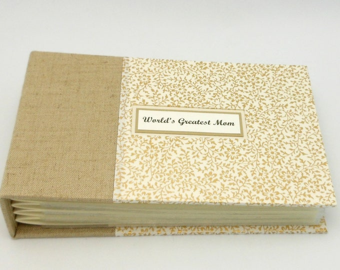 Linen and Gold Mini Photo Album -Made to Order for 4x6 photos