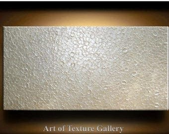 SALE Abstract Texture Painting 72 x 36 Original Modern Huge White Metallic Pearl Sculpture Impasto Oil by Je Hlobik