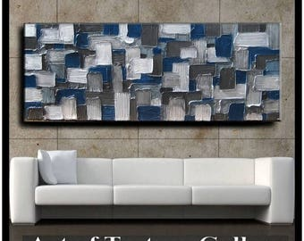 SALE 70 x 28 HUGE Custom Original Abstract Texture White Silver Navy Blue Charcoal Gray Modern Oil Painting by Je Hlobik