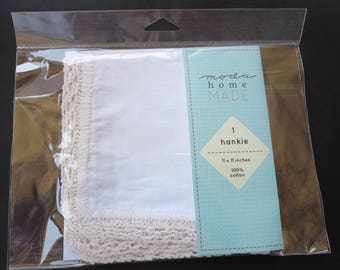 Moda - 11 x 11 Cotton Hankie -  Ready For You To Add Your Own Personal Touch