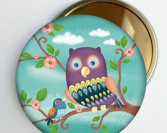 """Pocket mirror """"a nice mirror just for you"""", green, accessory bag, girl gift"""