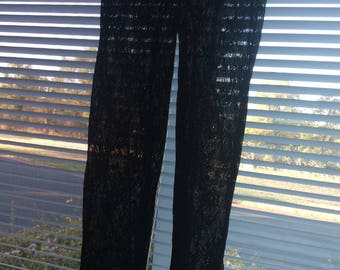 lace pants NWOT medium/also fit small/maybe large/semi sheer black