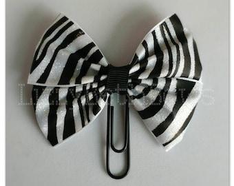 Black and white sparkly zebra clip, bookmark, planner bow clip, bow bookmark, zebra safari glitter