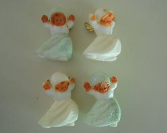 German angels, plastic w/ brass wings mica Christmas ornaments