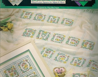 Cross Stitch Pattern Counted Vintage Cross Stitch Patterns Cross Stitch Leaflet Floral letter Squares For Afghans