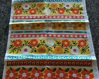 Vintage Retro Orange and Turquoise Floral Linen Kitchen Tea Towel- retro kitchen towel,curtain, linen towel, orange linen towel, retro towel