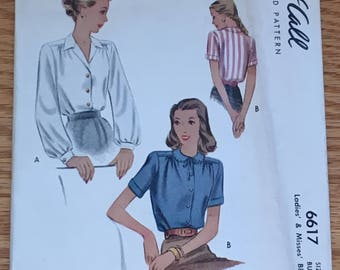 RARE 1940's McCalls McCall Sewing Pattern 6617 Misses Button Front Blouse Three Styles  14 cut- 1940s blouse, 1940s blouse pattern