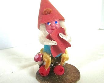 Christmas Elf 1950s Vintage Decoration Pine Cone Pixie Ornament