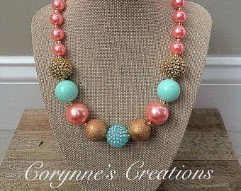Chunky Bubblegum Bead Necklace with Pink and Mint Beads