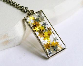 star pendant, resin pendant, silver gold, sparkle, silver pendant