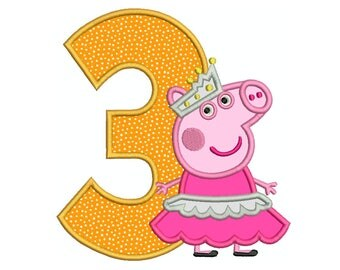 PEPPA Pig Ballerina Number 3 - Machine Applique Embroidery - Instant Digital Download