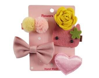 4 Hair Clips Hairclips Hair bow pink kitty flower heart