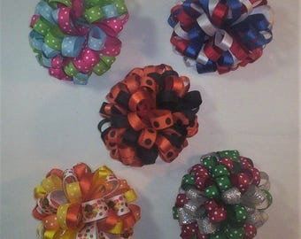 5 Loopy Puff Holiday Hair Bows, Easter, 4th of July, Halloween, Thanksgiving, Christmas