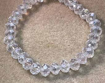 """Crystal """"Diamond"""" Clear Aurora Borealis Iridescent Faceted Glass Bead Stretch Bracelet with Sterling Silver Accent"""