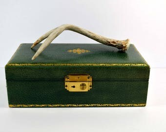 Vintage Leather Jewelry Box Green 1950s 1960s
