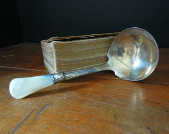 Vintage Mother of Pearl and Sterling Ladle / Sterling Gravy Ladle / Soup Ladle / Mother of Pearl Handle / Casserole Spoon