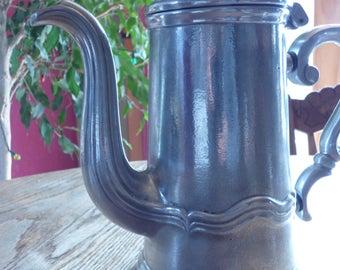 Antique Pewter Pitcher in Beautiful Shape! . Chocolate Pot . Tea Pot . Coffee Pot