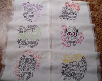 skull quilt blocks embroidered skulls quilt block set gothic quilt blocks