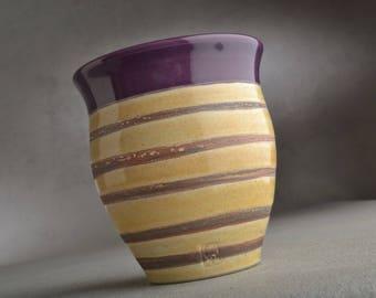 Purple Stripped Tumbler Ready To Ship Purple Tan Tumbler by Symmetrical Pottery
