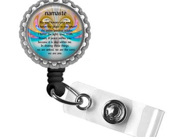Namaste..My soul honors your soul..Retractable ID Badge Reel.. ID Holder, Bottle Cap ID Badge.. Great Gift