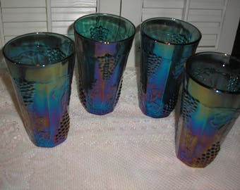Four Blue Carnival 10 oz Indiana Water Tumblers Glasses