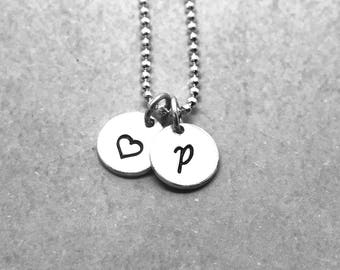 Personalized Heart Necklace, Sterling Silver, Letter P Necklace, Hand Stamped Jewelry, Mother's Necklace, All Letters Available, Initial