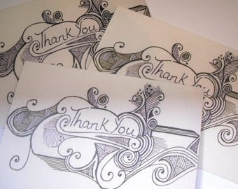 Thank you cards, Pack of 3 Blank Cards Greetings Cards, small Note cards