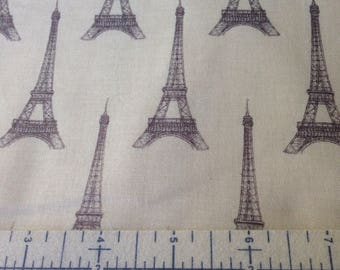 Eiffel Tower - Cream and Brown - Quilting Cotton - BTY