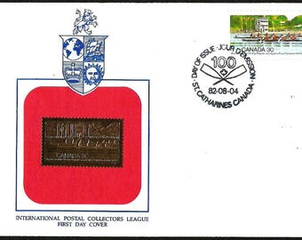 CANADA Fdc w/ 22 kt GOLD replica STAMP 1982 Royal Canadian Henley Regatta First Day Cover