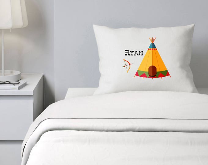 Indian Tee Pee Pillowcase, Custom Pillowcase, Boys Bedding, Personalized Pillowcase, Pillowcase for kids