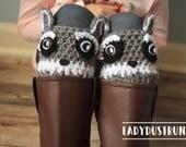Woodland Animals Raccoon Boot Cuffs / Crochet Raccoon / Raccoon Boot Cuffs / Raccoon Socks / Crochet Boot Cuffs