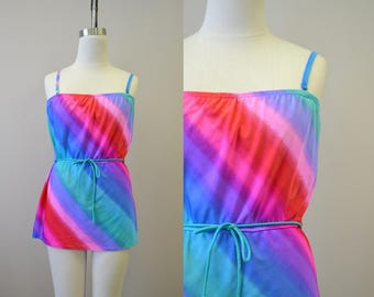 1980s Jantzen Rainbow Skirted Two Piece Swimsuit