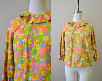 1960s Mod Floral Cotton Ruffled Blouse