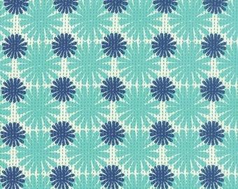 ON SALE Moda Fabric GOOD Karma by Stephanie Ryan 1/2 Yard 7212-12 Aqua Navy Burst Floral