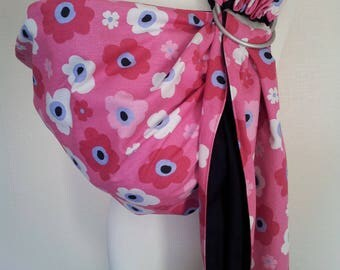 Baby Ring Sling Carrier / Sling / Carrier / Reversible / Unpadded / Dreamy Flowers with Black