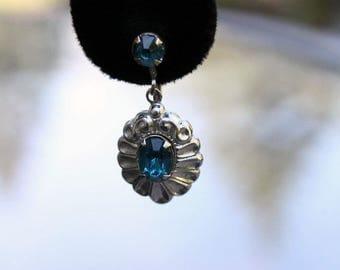 Dainty Dangle Earrings with Aquamarine Plastic Stones, ca. 1950s