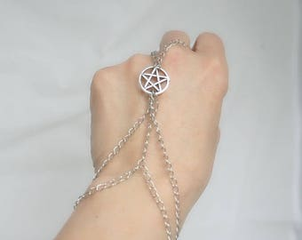 ring bracelet with Pentagram star and silver chain (m14a)