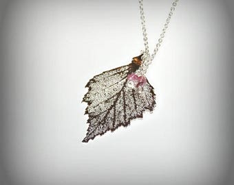 Electroplaquee silver birch leaf and tourmaline