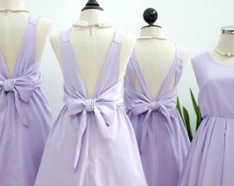 Pale lilac dress lilac party dress lilac prom dress lilac cocktail dress backless dress lilac bridesmaid dresses bow back dress