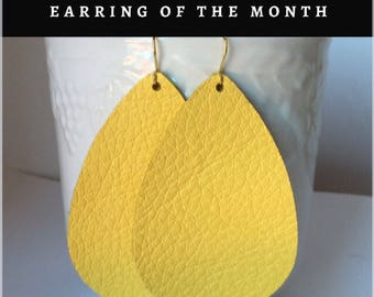 Yellow Sunshine Earrings Leather Teardrop Drop