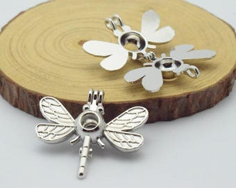 Dragonfly Bead Cage-5pcs 29x36mm Silver Tone  Alloy Essential Oil Diffuser Pendant Perfume Locket Hollow Pearl Bead Cage Pendant C8472
