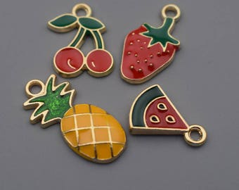 Fruit Charms-8Pcs Enamel Strawberry Cherry Pineapple Watermelon Charms, Fruit Charms, Hot Summer Charm Jewelry Supplies, Findings