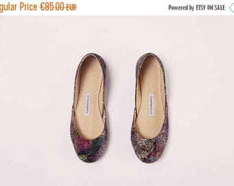 Summer Sale Handmade Leather Ballet Flats | Purple Galaxy | Ballet Flats | Last two pairs, eu 37 and 38 | Ready to Ship