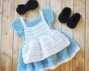 Alice in Wonderland Inspired Costume/Crochet Alice in Wonderland Dress/Alice in Wonderland Photo Prop Newborn to 12 Months- MADE TO ORDER