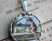 Fiona & The Fig  Vintage Broken China - Cupid - Soldered Necklace Pendant Charm- Jewelry