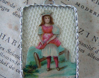 Fiona & The Fig - Victorian Circa 1885 - Die Cut Scrap - Double Sided - Boy and Girl  - Soldered Charm - Necklace - Pendant-Jewelry