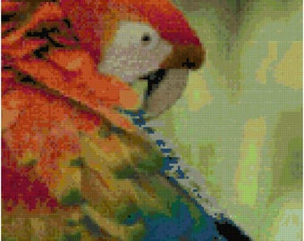 A Colorful Scarlet Macaw Cross Stitch Pattern