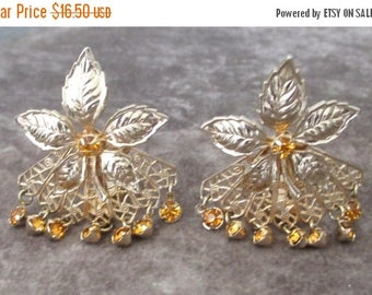 25% Off Vintage Floral Earrings, Rootbeer Colored Rhinestones, Dangles Earrings