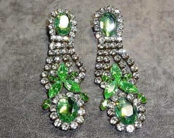 25% Off Spectacular Vintage Bijoux MG. Signed Dangle Pierced Statement Earrings, Runway, showgirl earrings oo Lala